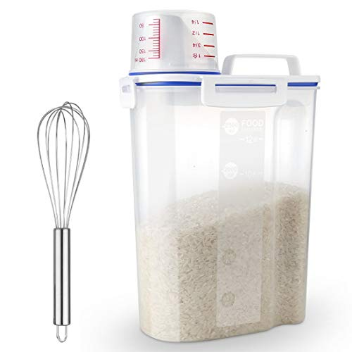 Uppetly Rice Airtight Dry Food Storage Containers, BPA Free Plastic Sealed Holder Bin Dispenser with Pouring Spout, Measuring Cup for Cereal, Flour and Oatmeal, Include a Stainless Steel Whisk