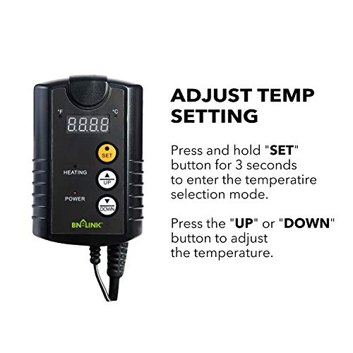 BN-LINK Digital Heat Mat Thermostat Controller for Seed Germination, Reptiles and Brewing Breeding Incubation Greenhouse, 40-108°F, 8.3A 1000W ETL Listed