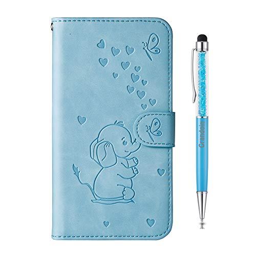 Grandoin Kompatibel mit Samsung Galaxy A8S Hülle, Handytasche PU Leder Etui Flip Cover Geprägter Elefant Muster Book Hülle Schutzhülle mit [Magnetverschluss] Etui Hülle (Blau)