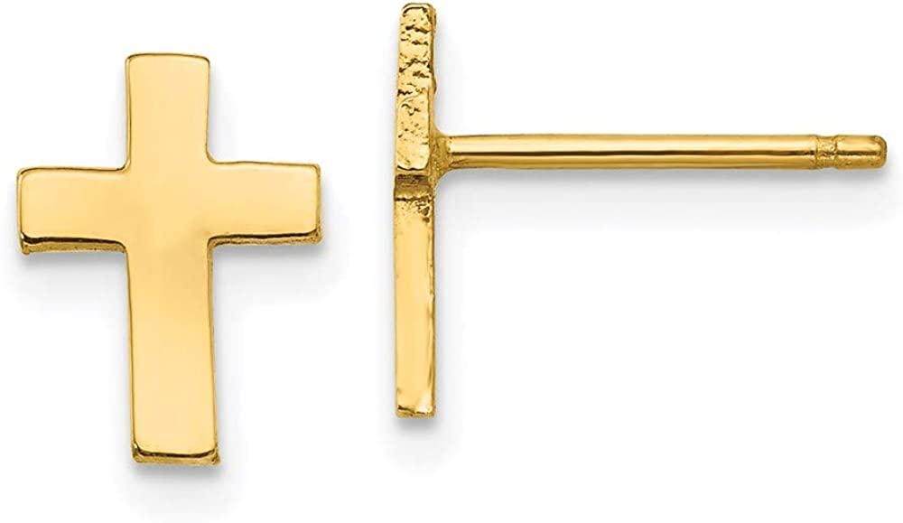 14k Polished Cross Earrings 9mm 7mm style TC740