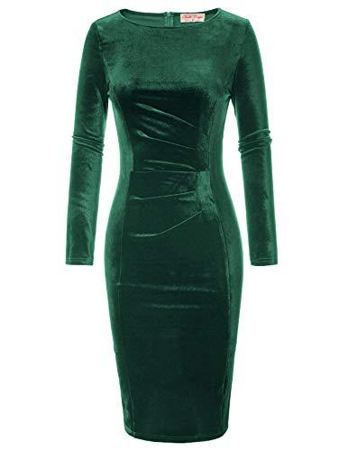 Belle Poque Rockabilly Pencil Kleid Damen festlich winterkleid grün Knielang Bodycon etuikleid L BP744-3