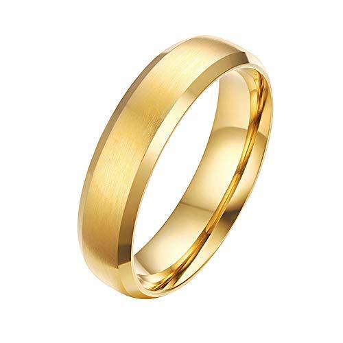 Mabohity Ring Herren/Damen Titan-Ring Titanium 6mm Breit Matt & Gebürsteter Ewigkeit Ehering Verlobungsring Freundschaftsring Hochzeit Band, Gold, Größe 65