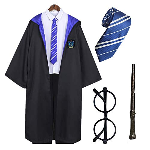 Disfraz Harry Potter , Capa de Ravenclaw + Gafas de Mago Redondos + Varita mágica de plástico + Corbata (Azul, Adulto Talla Unica)