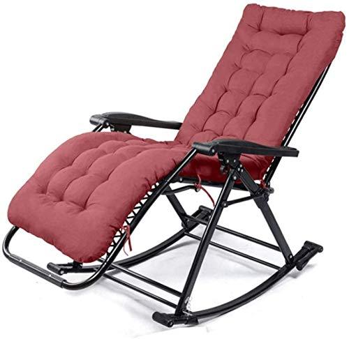 Silla tumbona Sillas de camping sillas de jardín Silla plegable Jardín Silla mecedora de servicio pesado con tumbonas ajustables, con reposacabezas y algodón desmontable para sillas cubiertas y exteri