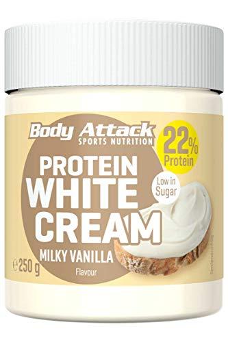 Body Attack Protein White Cream Milky Vanilla, 250 g, Brotaufstrich mit 22% Eiweiß, Protein-Cream ohne Zuckerzusatz mit cremigem Vanillegeschmack