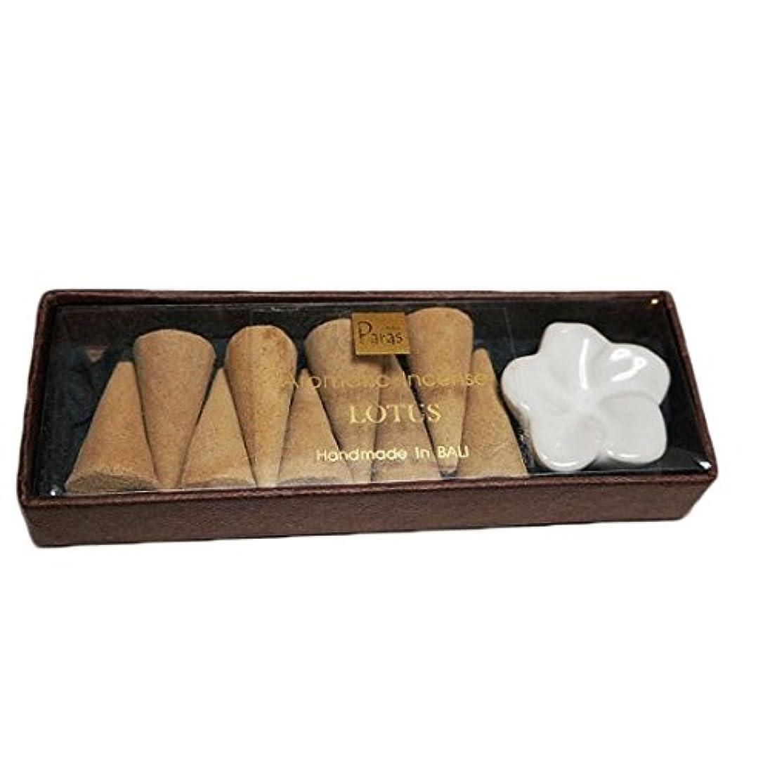 率直なヒープ受動的ロータス お香セット【トコパラス TOKO PARAS】バリ島 フランジパニの陶器のお香立て付き ナチュラルハンドメイドのお香