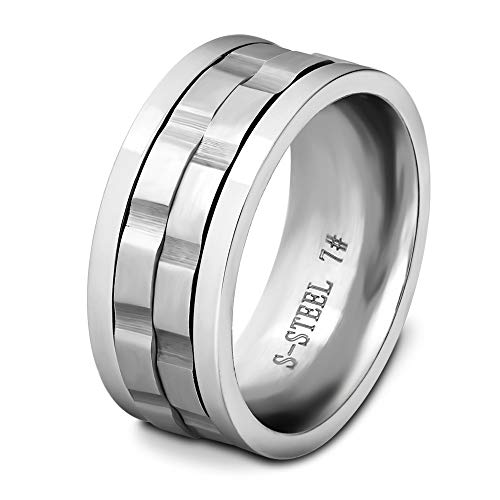 BVGA Anillo giratorio de 9 mm para hombre, de acero de titanio n.º 8, anillo de color de acero para mujeres, niñas, hermanas, amigas, significativo regalo de joyería