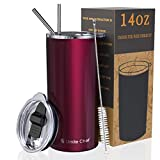 Umite Chef Tumbler with Lid, Stainless Steel Insulated Coffee Travel Mug, 14 oz Skinny Tumbler Lowball, Double Wall Coffee Tumbler Cup with Splash Proof Sliding Lid for Tea, Beverage(Wine Red)