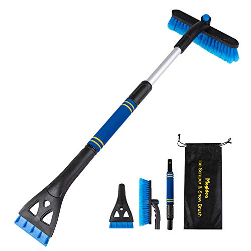 "Moyidea 3 in 1 Extendable 25.2"" to 31.5"" Ice Scraper Snow Brush Detachable Snow Removal Tool with Ergonomic Foam Grip for Car SUV Truck"