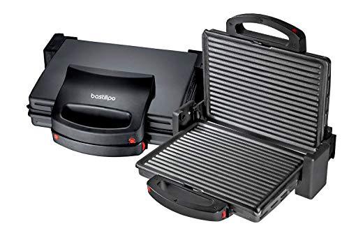 Vulcano Fast Grill 1700 - Grill eléctrico de 1700 Watios de potencia con placas antiadherentes libres de PFOA y apertura de 180 grados