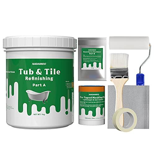 NADAMOO Tub and Tile Refinishing Kit DIY Sink Bathtub Repair Kit, For...