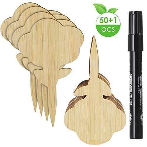 BigBig Style Lot de 50 étiquettes portatives pour plantes de jardin en bambou 10*6cm Type papillon