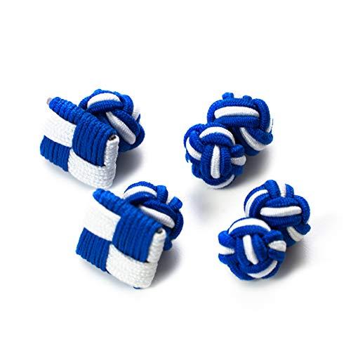 Hersteller: Bull & Drake 2 Paar Seidenknoten Manschettenknöpfe Stoffknoten Knötchen & Chess-Form, blau-weiß Bayern