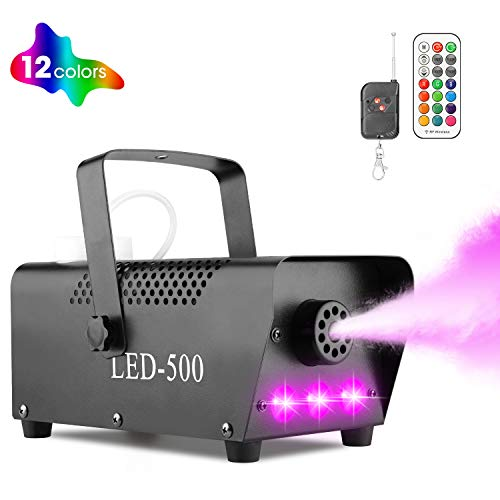 Halloween Fog Machine with Lights - 3 Stage LED Lights with 12 Colors & Strobe Effect for Party Wedding Holiday Christmas - Fansteck 500W Upgraded Wireless Remote Potable Smoke Machine