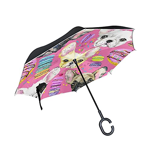 Oyihfvs Colorful French Bulldog Puppy Watercolor On Pink Large Inverted Umbrella, Rain Reverse Sun Parasol, Strong Double Layer Car Umbrella with UV Protection Upside Down with C-Shaped Handle