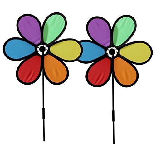 Toyvian 2 Stück Windmühle Sonnenblume, Stoff Sechsblättrige Blüten Windrad Gartenstecker Bunt Garten Windmühle Rotierende Rasen Hof Party Dekoration Kinder Spielzeug
