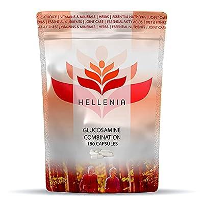 Hellenia Glucosamine Combination 3 in 1 - Glucosamine, Chondroitin & MSM   180 Capsules   Fast Release Formula   Manufactured in The UK