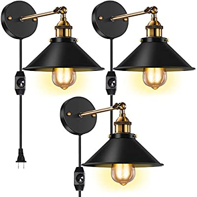 Licperron 3 Pack Vintage Antique Style 240 Degree Adjustable Industrial Wall Light , Dimmable Wall Sconce Plug in ? with UL Dimmable Switch? for Restaurants Bathroom Dining Room Kitchen Bedroom