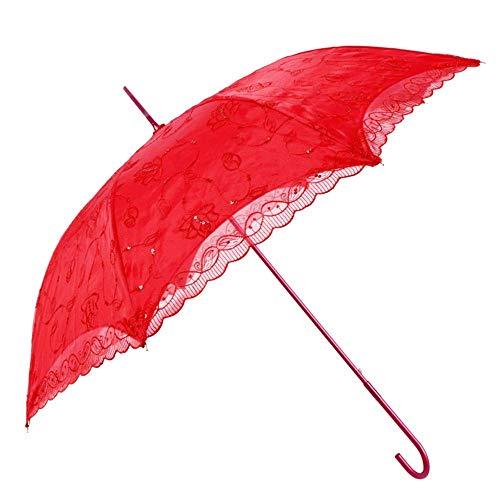 WMKCV Rote Braut-Regenschirm-Damen-doppelter Spitze-Regenschirm Winddicht Wasserdichter UV-Regenschirm-Hochzeitsgeschenk-Regenschirm