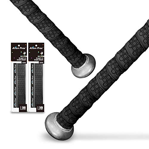 Alien Pros Bat Grip Tape for Baseball (2 Grips) – 1.1 mm Precut and Pro Feel Bat Tape – Replacement for Old Baseball bat Grip – Wrap Your Bat for an Epic Home Run (2 Grips, Black)