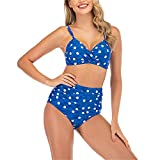 Bikini dividido para mujer en azul con correa de lunares y bikini Kill Bikini Shorts para mujer sin tirantes Bikini Sets para mujer