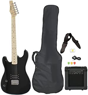 Davison Guitars Full Size Black Electric Guitar with Amp, Case and Accessories Pack Beginner Starter Package Left Right Handed