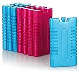 com-four® 8X Paquete frío para Bolsa de refrigeración - Elementos refrigeradores para Caja fría - Paquetes Frescos para el hogar y el Ocio - 220 ml (Azul/Rosa)