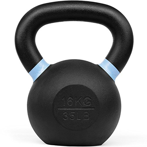 Yes4All Powder Coated Kettlebell Weights with Wide Handles & Flat Bottoms – 16kg/35lbs Cast Iron Kettlebells for Strength, Conditioning & Cross-Training
