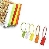 100 Pz Etichette Fascette Plastica, Fascetta Multicolore di Plastica, Plastica Sigilli Sicurezza Etichette, Fascette Plastica, Fascette Anticontraffazione per Abbigliamento e Logistica (5 Colori)