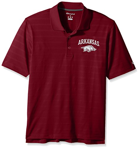 NCAA Champion Men's Textured Solid Polo, Arkansas Razorbacks, Large Arkansas Razorbacks Ncaa Basketball