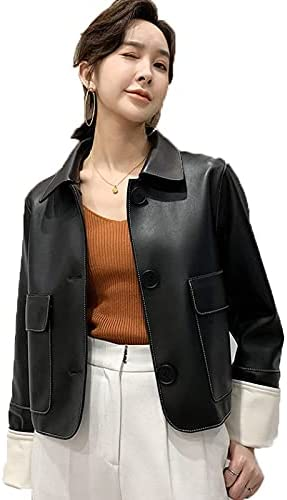 Mzhizhi Womens Black Leather Jacket - Real Lambskin Brown Leather Jackets for Women