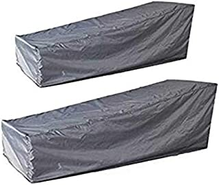 skyfiree 2 Packs Patio Chaise Lounge Covers Waterproof Outdoor Pool Chaise Covers 82x30x16/31 inches Dust-Proof Sun Lounge Chair Cover Lightweight for Garden Yard Furniture Grey