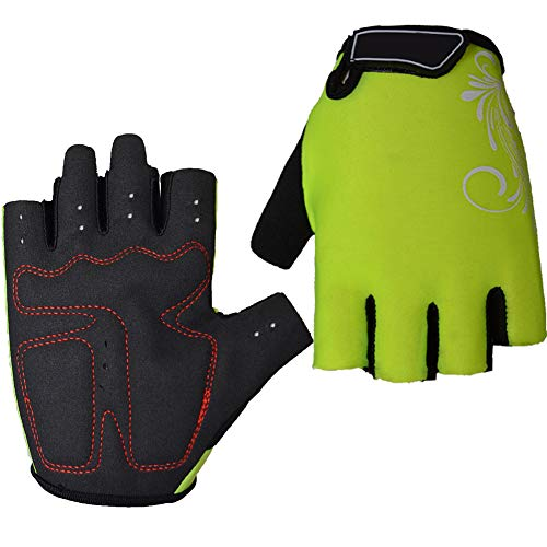 Guantes de bicicleta, guantes transpirables de medio dedo para ciclismo al aire...