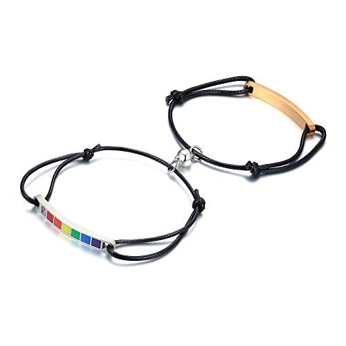 VNOX Personalize 2PCS Gay Lesbian Love Rainbow Bracelets Mutual Attraction Couple Distance Braided Rope Bracelets with Magnetic Bells Gift Jewelry Set Valentine's Day Present,Silver Rose Gold