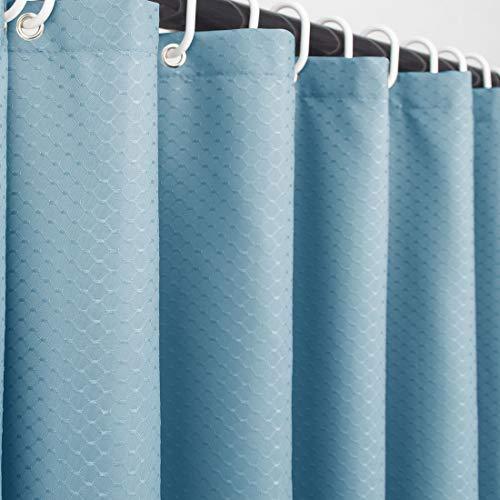 Ebecede Duschvorhang aus Stoff ohne Futter für Badezimmer, 180 g/m², schweres Waffelgewebe, hohe Wasserdichtigkeit (blau, 72 W x 72 L)