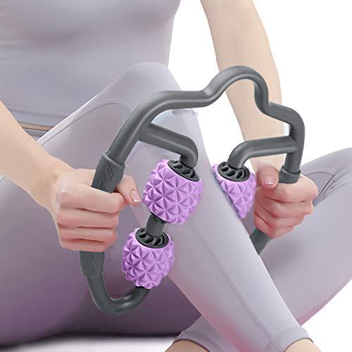 DUTISON Massageroller, Triggerpunkt Muskelrolle mit Grif für Waden Beine Arme, Schaumstoffrollen-Tiefenmassagegerät zur Linderung von Muskelkatersteifheit und verspannten Muskeln