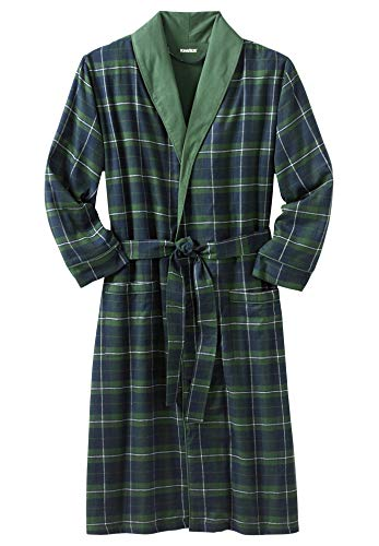 KingSize Men's Big & Tall Jersey-Lined Flannel Robe, Balsam Plaid Big-3XL/4X