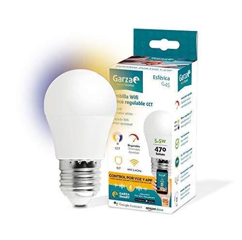 Garza ® Smarthome - Bombilla LED Esférica Intelegente Wifi E27, luz blanca neutra regulable con cambio de intensidad y temperatura. Programable, compatible con Amazon Alexa y Google Home.