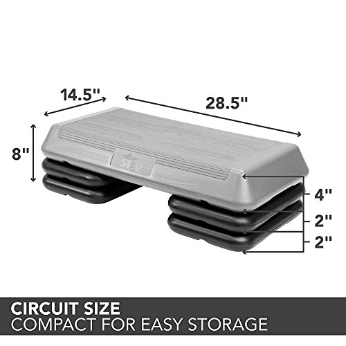 The Step Original Aerobic Platform – Circuit Size Grey Aerobic Platform and Four Original Black Risers Included with 4