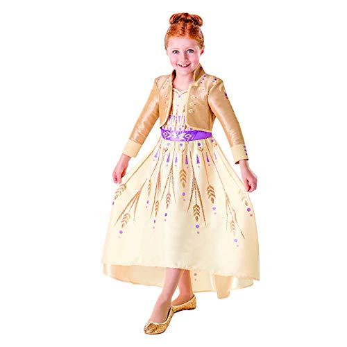 Rubies - Disfraz oficial de Disney Frozen 2, Anna Deluxe Prologue vestido, para niños, talla grande de 7 a 8 años