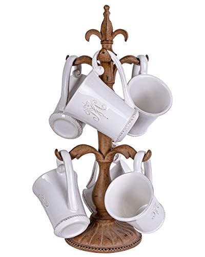 Tassenständer 6tlg. Porzellantassen Kaffeetassen Monogramm Kaffeebecher Weiss CW059 Palazzo Exklusiv