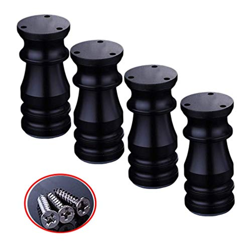 4 patas ajustables para muebles, patas de aluminio para sofá, patas de metal, patas de mesa, patas de armario, patas de nailon, color negro, altura de 80 a 150 mm