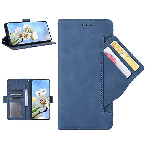 Jorisa Brieftasche Hülle Kompatibel mit iPhone 13 Pro 6.1 Zoll,Retro Vintage Leder Geldbörse Frauen Männer Handyhülle mit Kartenfächer,Abnehmbar Kartenhalter Flip Magnetisch Stand Hülle,Blau