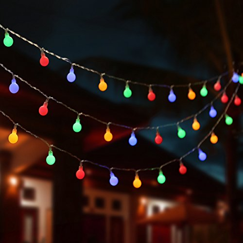 LE 33Ft 100 LED Colored Globe String Lights, 8 Lighting Modes with Timer, Fairy Twinkle String Light Bulb for Home, Party, Wedding, Christmas Tree Décor, Adapter Included