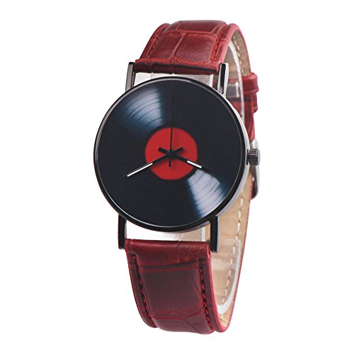 Men Watch Luxury Quartz Watches Analog Leather Band Casual Watches Male Business Watch (Red)