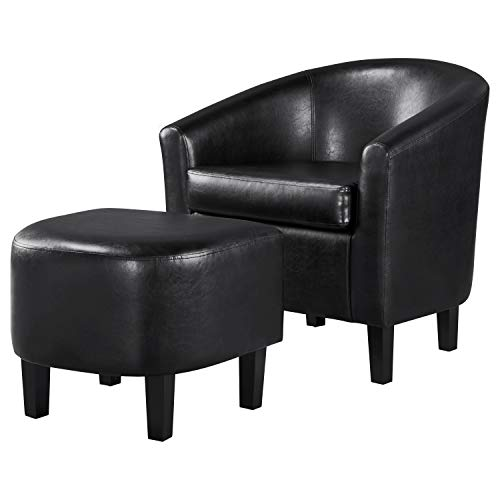 YAHEETECH Accent Chair with Ottoman Barrel Tub Chair and Ottoman Set Faux Leather Accent Armchair Lounge Chair with Footrest Set for Living Room Bedroom Black