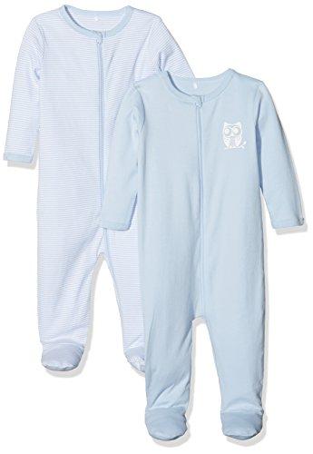 NAME IT Baby-Jungen NBMNIGHTSUIT Zip W/F 1 NOOS Schlafstrampler, Blau (Cashmere Blue), 56 (2er Pack)
