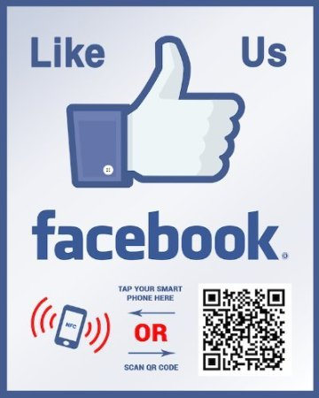 Like Us on Facebook Sticker - QR Code and NFC Tag - -