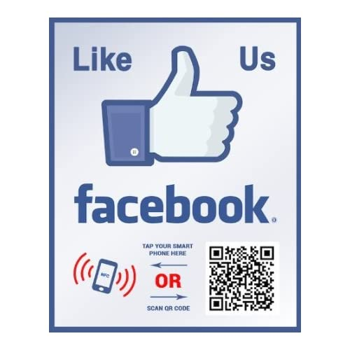 Like Us on Facebook Sticker - Social Media QR Code and NFC Tag - Storefront Window Sticker - Two-Sided Window Decal - Custom Designed for Facebook