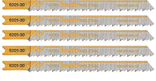 kwb 5 x Stichsägeblätter Profi-Pack für Holz 620135 (fein, HCS Kohlenstoffstahl, Universalschaft, U101B) u.a. für Einhell RT-JS 85